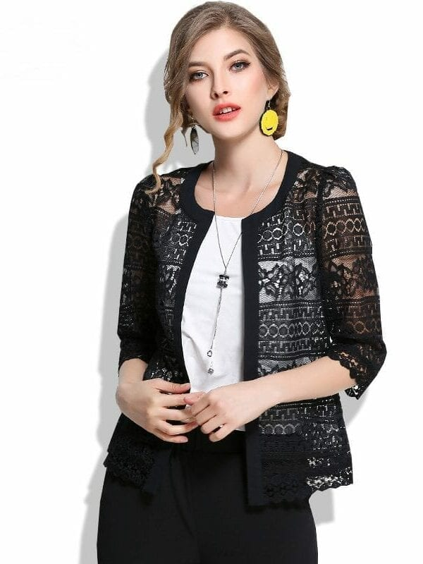 Black White Hollow Out Slim Solid Lace Shirt Jacket
