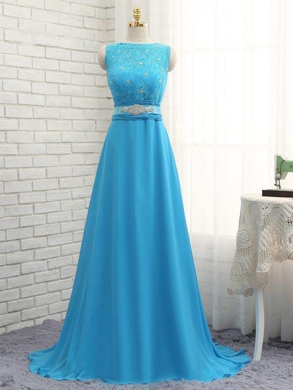 Blue A-line High Collar Chiffon Lace Beaded Long Bridesmaid Dress