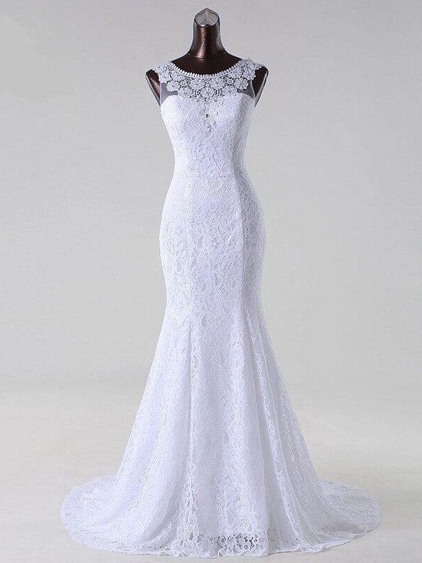 Elegant Beading Lace Appliques Mermaid Wedding Dress