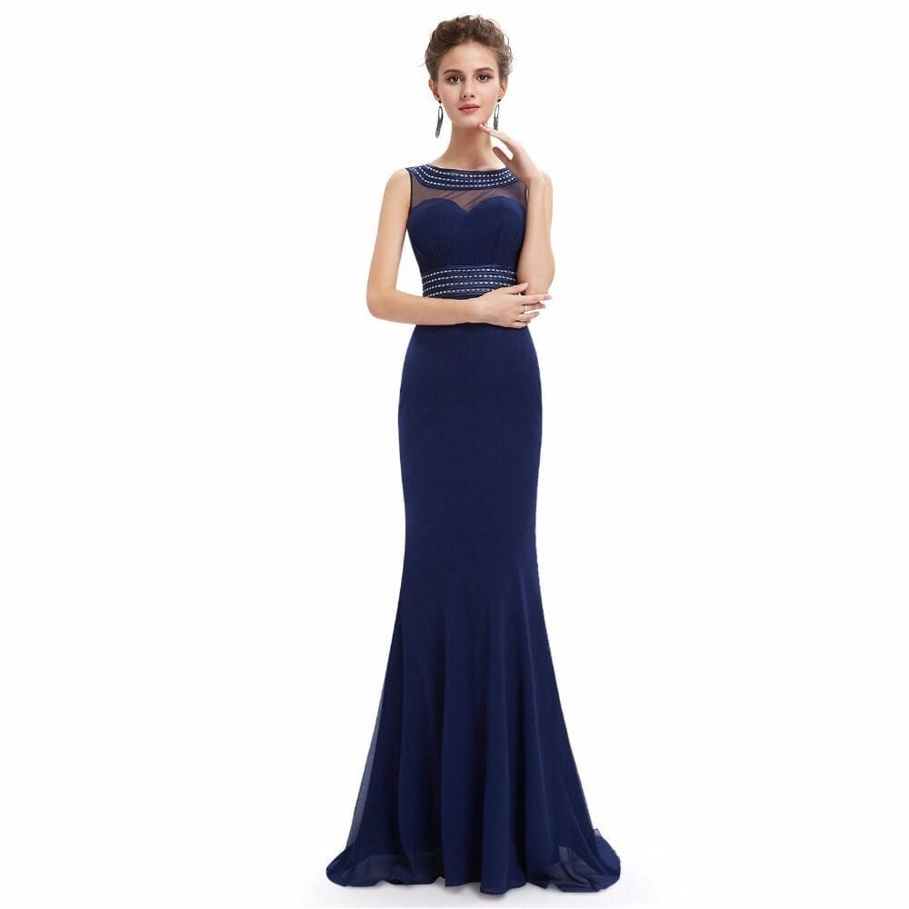 Sleeveless See Through Mermaid Long Bridesmaid Dress