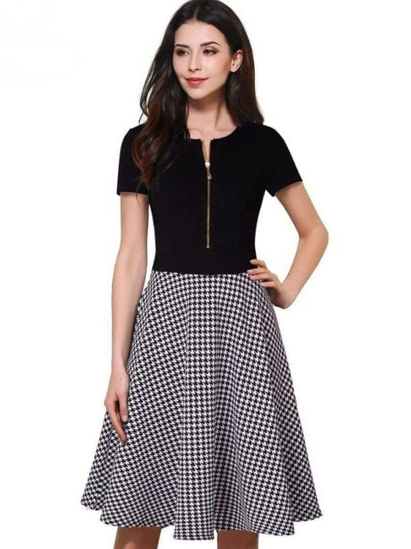 Vintage Elegant O-neck Short Sleeve A-line Work Office Casual Dress