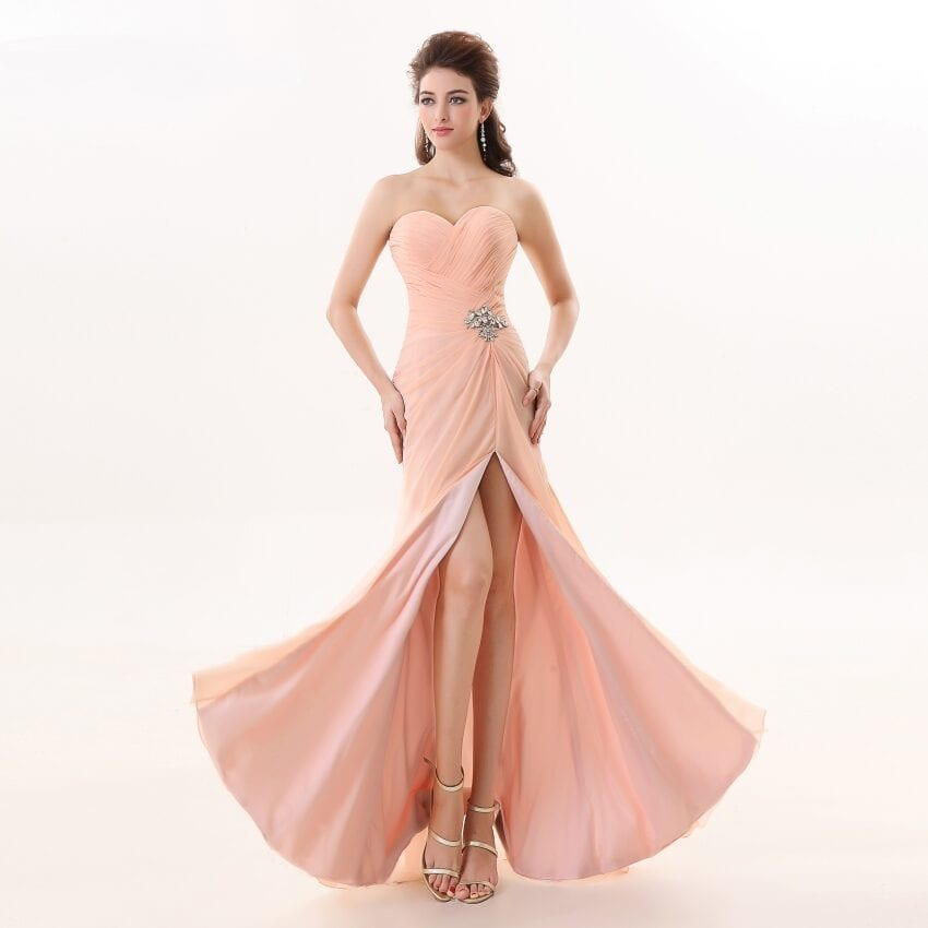 Sweetheart Chiffon Side Slit Long Bridesmaid Dress