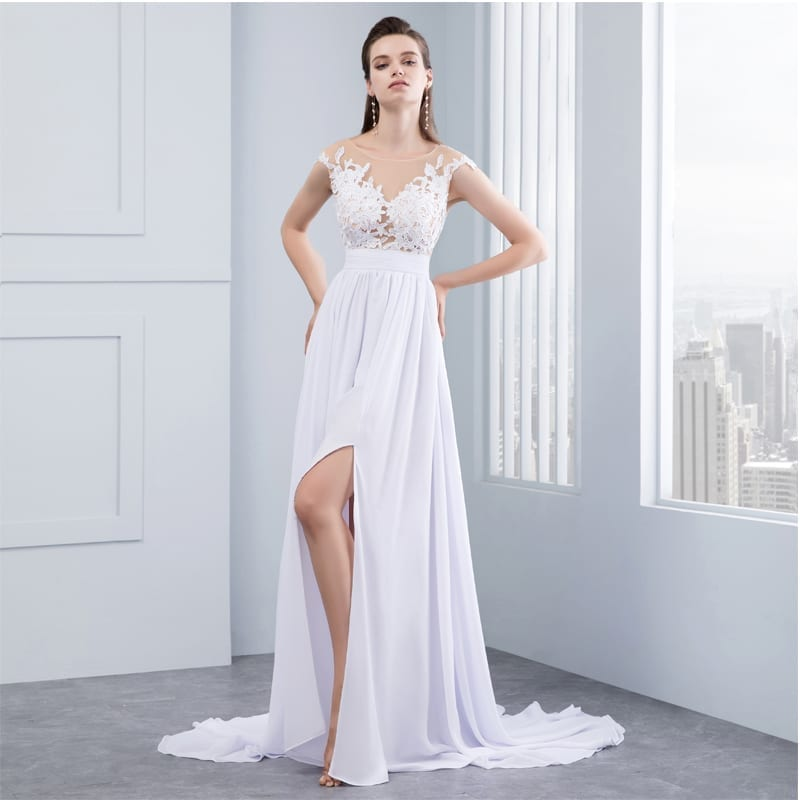 dress for beach wedding chiffon lace appliqued cap sleeve wedding 3687