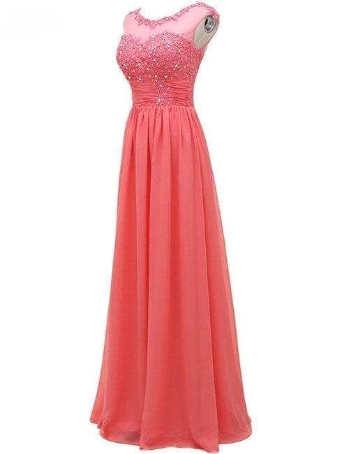 Sleeveless Ruched Lace Chiffon Beach Long Bridesmaid Dress
