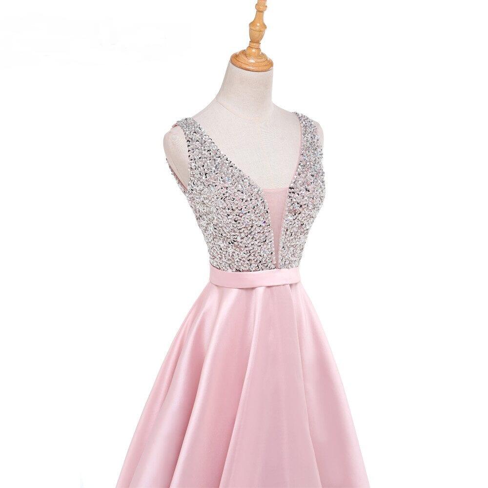 V-neck Beading Crystal Backless Satin Long Evening Bridesmaid Dress