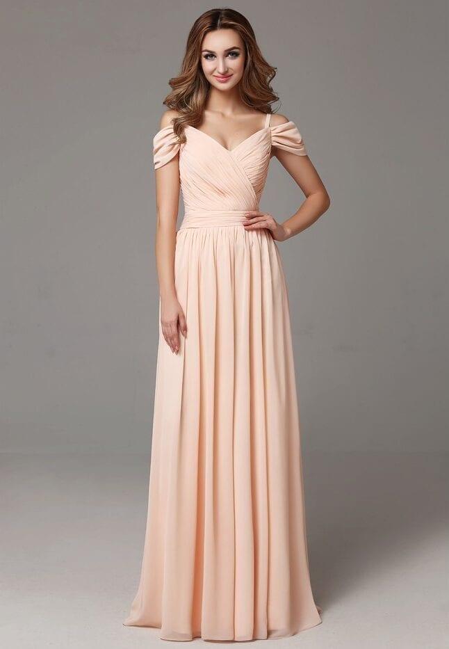 Sweetheart Off The Shoulder Pleats Chiffon Boho Long Beach Bridesmaid Dress