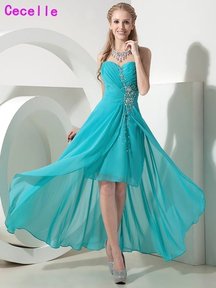 Sweetheart Turquoise Short Front Long Back Beach Country Bridesmaid ...