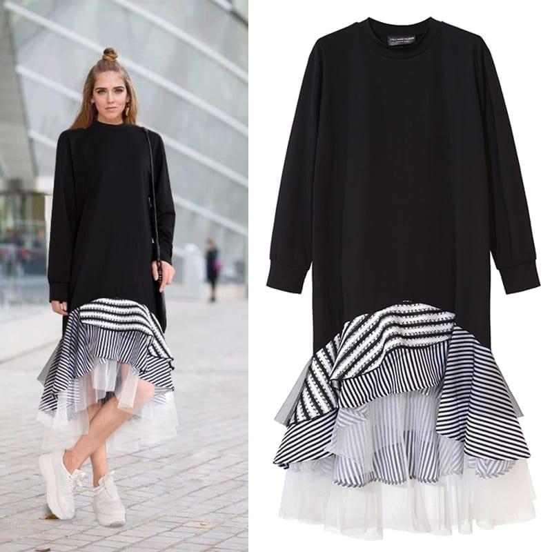 Long Sleeve Patchwork Stripe Mesh Ruffle Flare Asymmetrical Hem T Shirt Midi Dress