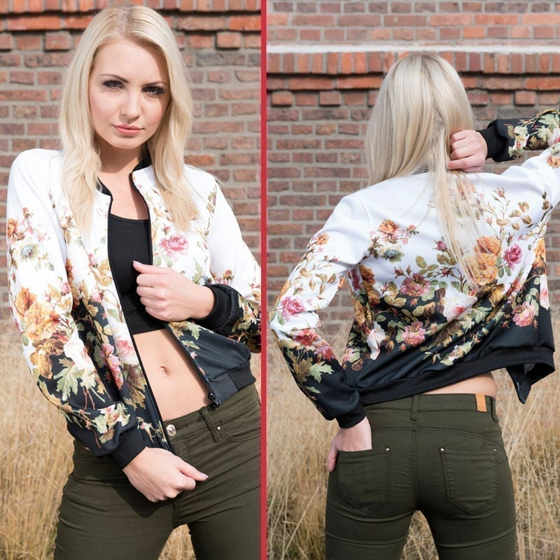 3d Printed Flower Short Basic Bomber Blouse Jacket
