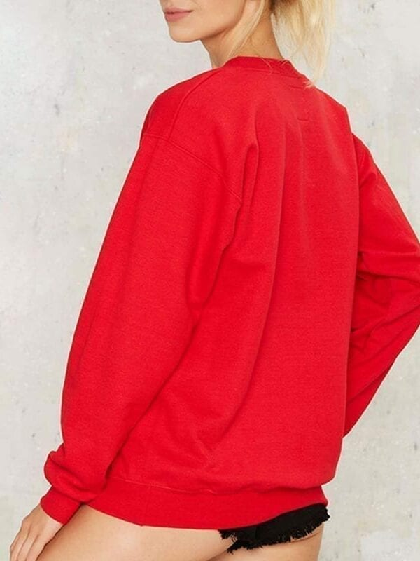 Red Brief Letters Print Loose Long Sleeve Crew Neck Pullover Sweatshirt