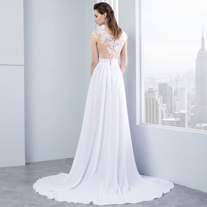 Chiffon Lace Appliqued Cap Short Sleeve Beach Wedding Dress ...