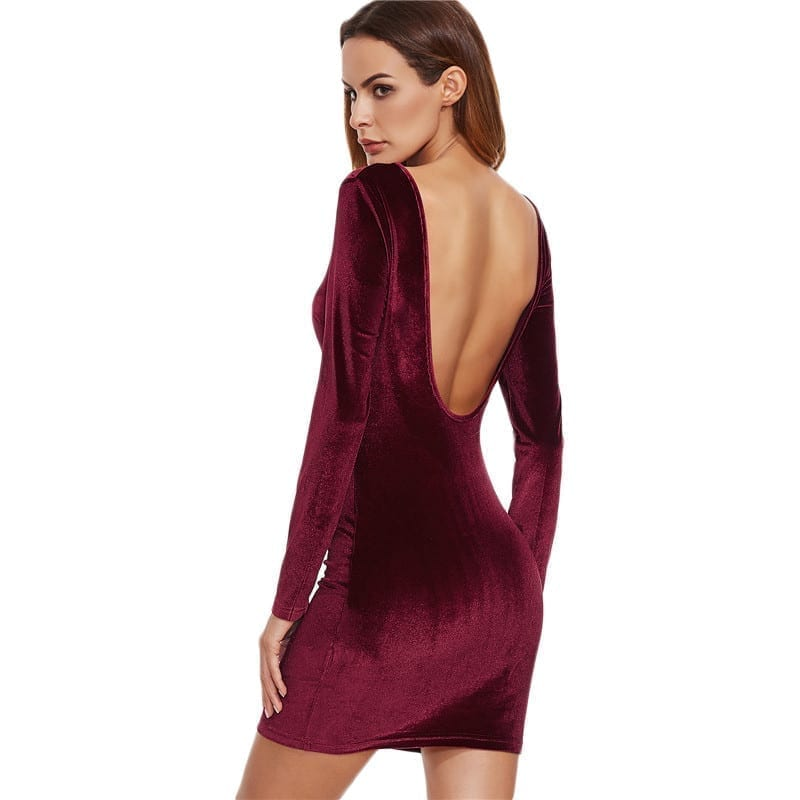 2317fc3cbf1f COLROVIE Sexy Club Outfits European Style Dress Party Short Long Sleeve Dress  Burgundy Open Back Velvet
