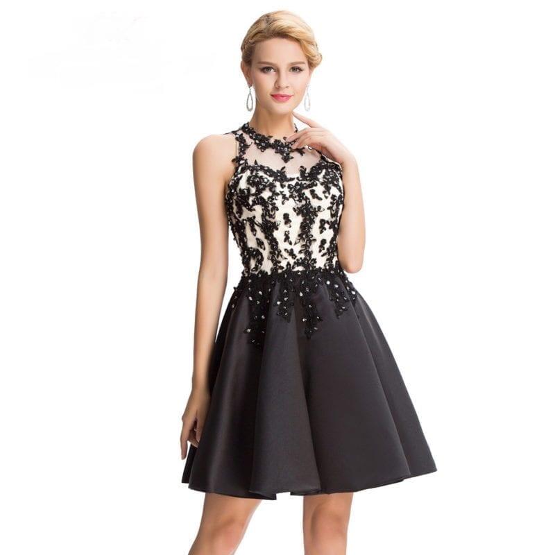 Black Satin Appliques Beading Elegant Knee Length Short Prom Dress