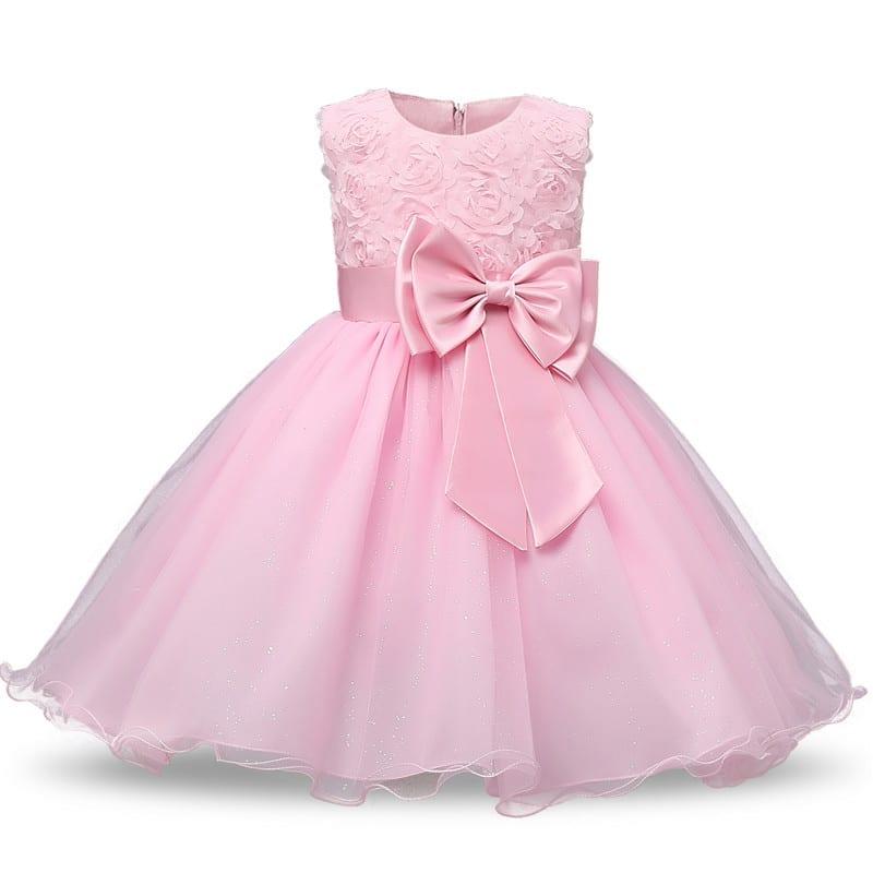 O-neck Sleeveless Bow Floral Waist Princess Flower Girl Party Dress