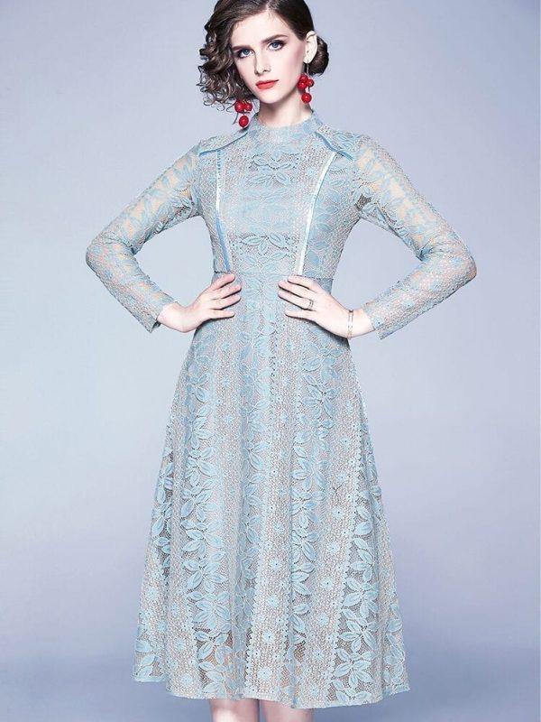 Vintage Hollow Out Lace Elegant Dress