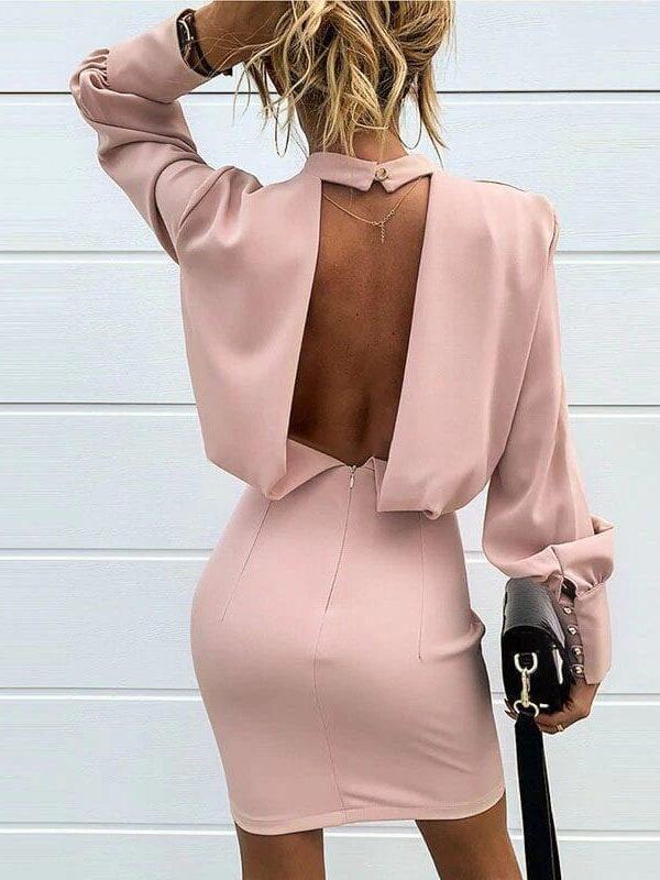 Pink Long Sleeve Backless Mini Dress