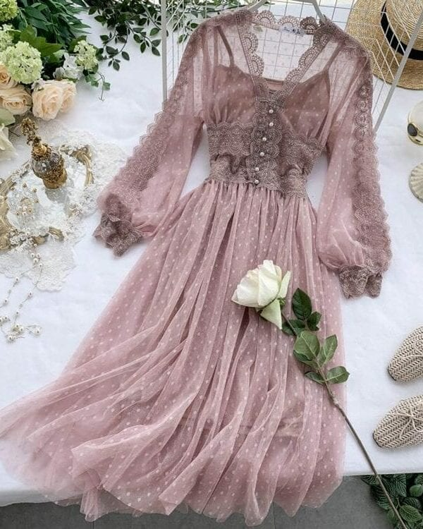 Lace Floral V-neck Long Sleeve Polka Dot Dress