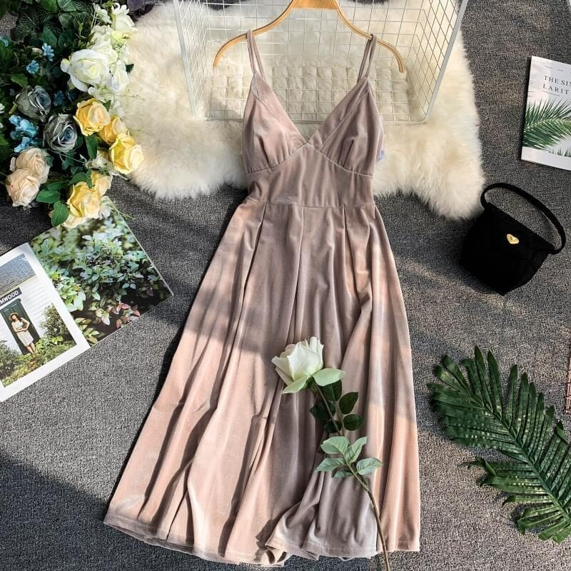 Apricot Vintage Sleeveless Knee Length Velvet Dress