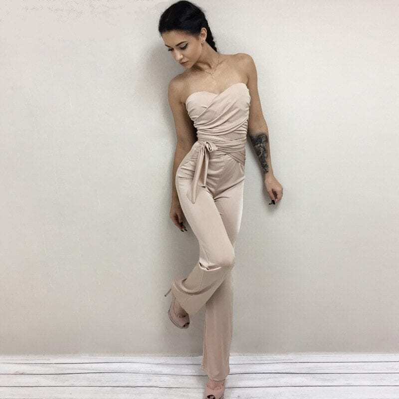 Bandage Strapless Solid Bodycon Jumpsuit