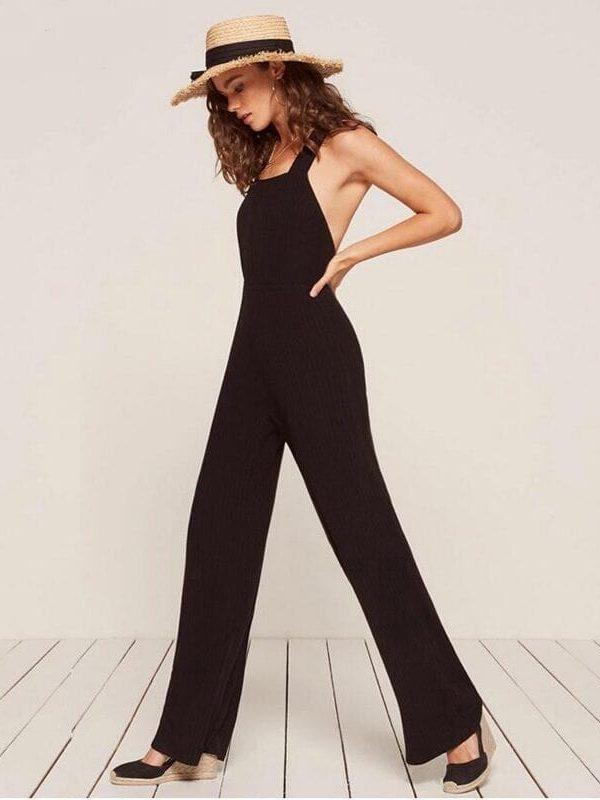Spaghetti Strap Criss Cross Backless Long Black Jumpsuit