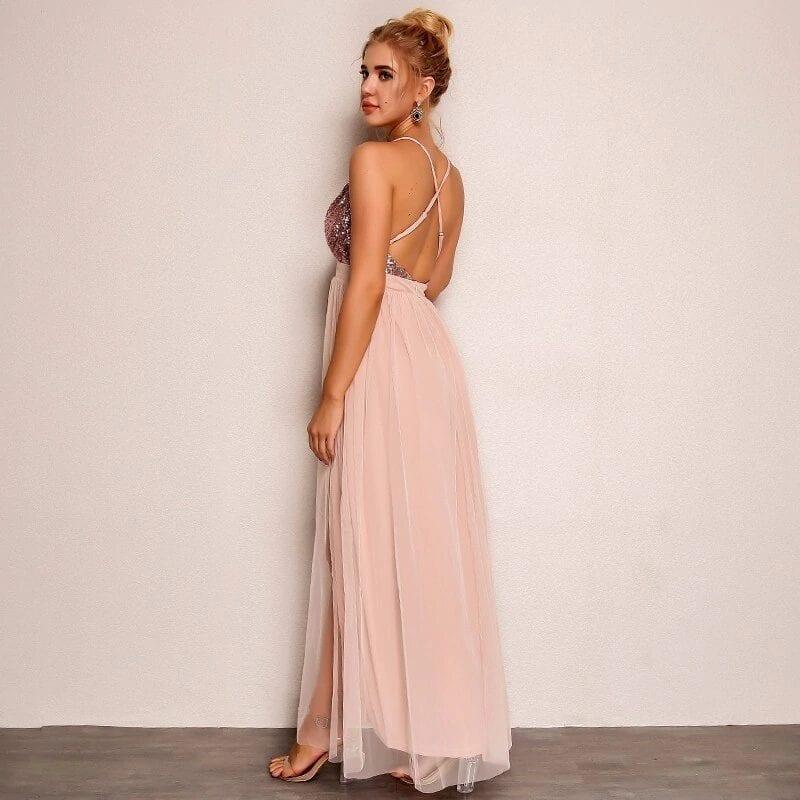 Pink Loose Sequin Deep V Strap Mesh Dress