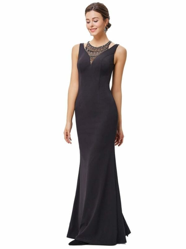 High Neck Black Long Evening Formal Prom Gown