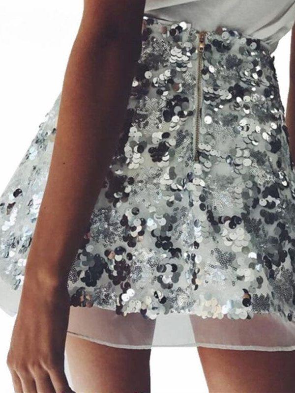 Gold Black Sliver Vintage High Waist A-line Mini Sequin Skirt
