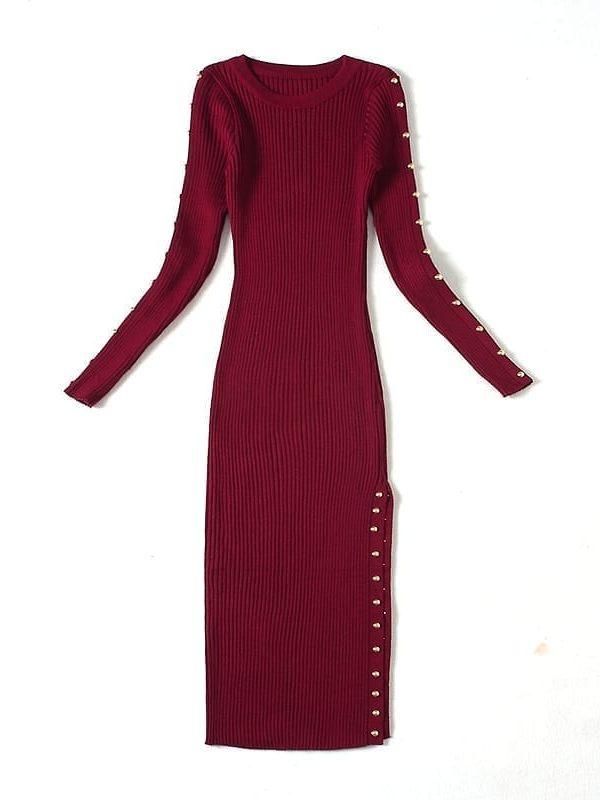 Knited Rivets Side Low Slit Long Sleeve Dress