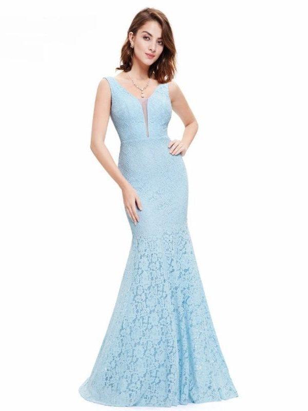 V-neck Elegant Lace Mermaid Prom Dress