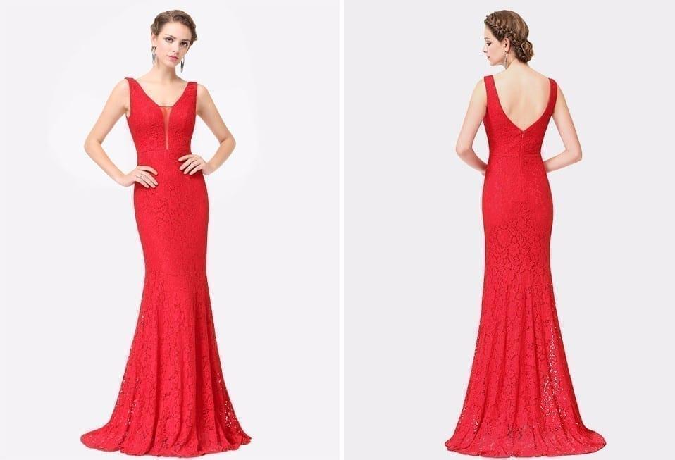 Beige Elegant V Neck Bridesmaid Dress: V-Neck Elegant Lace Mermaid Prom Dress