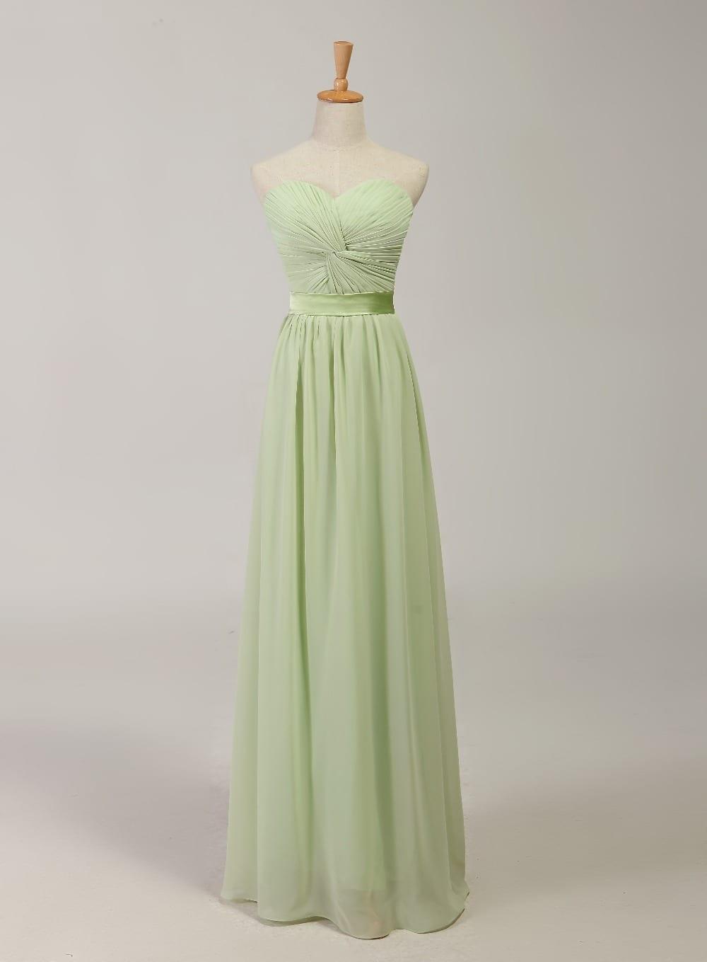 Elegant Sage Floor Length Chiffon Bridesmaid Dress