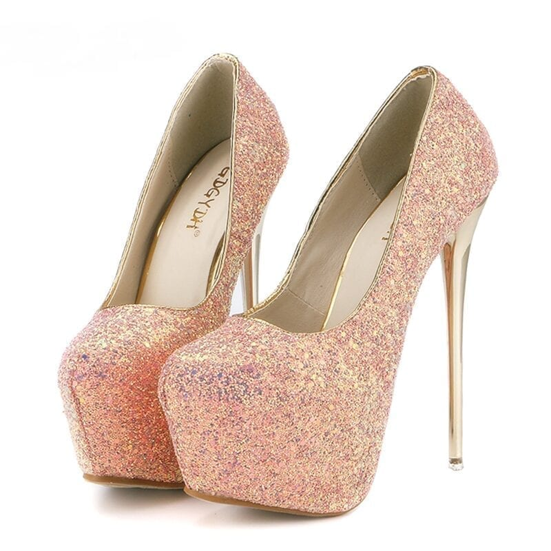 Pink Blue White Black Bling High Heels Pumps