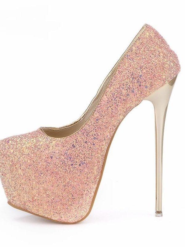 Pink Blue White Black Bling High Heels Pumps