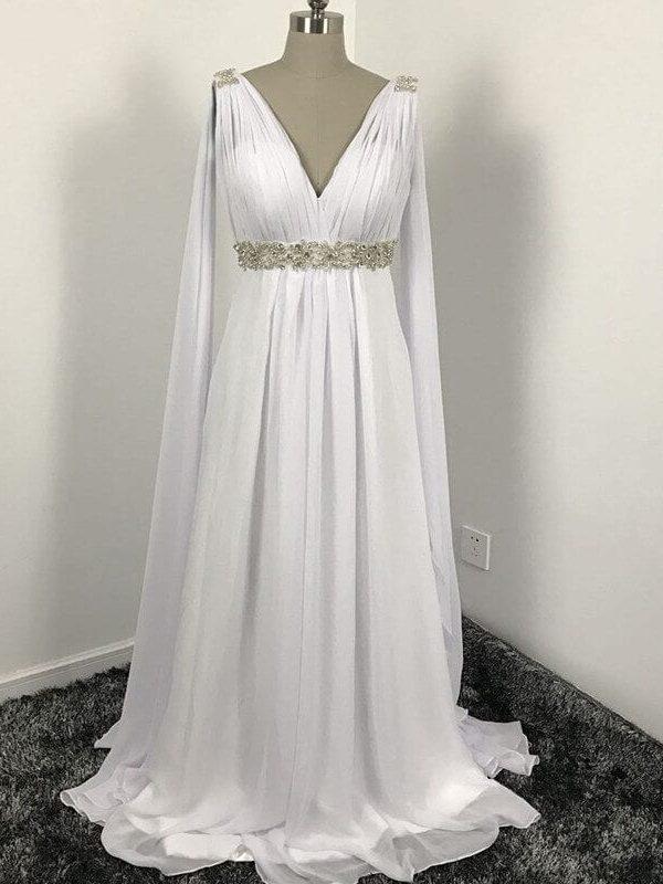 V-neck Long Chiffon Grecian Beach Wedding Dress