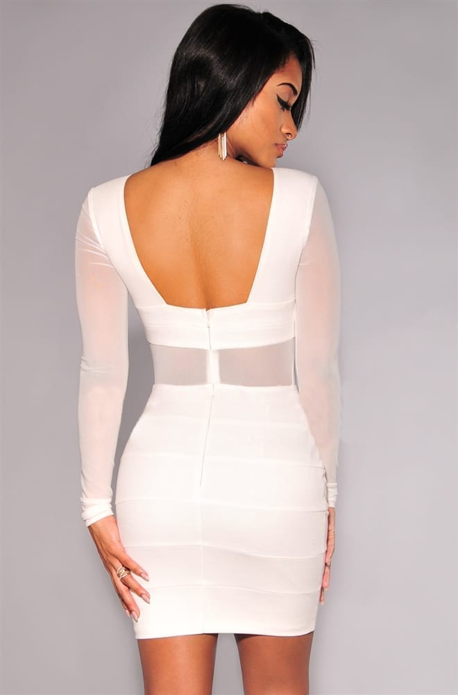 Black White Long Sleeve Mesh Patchwork Hollow Out Pencil Bodycon Dress