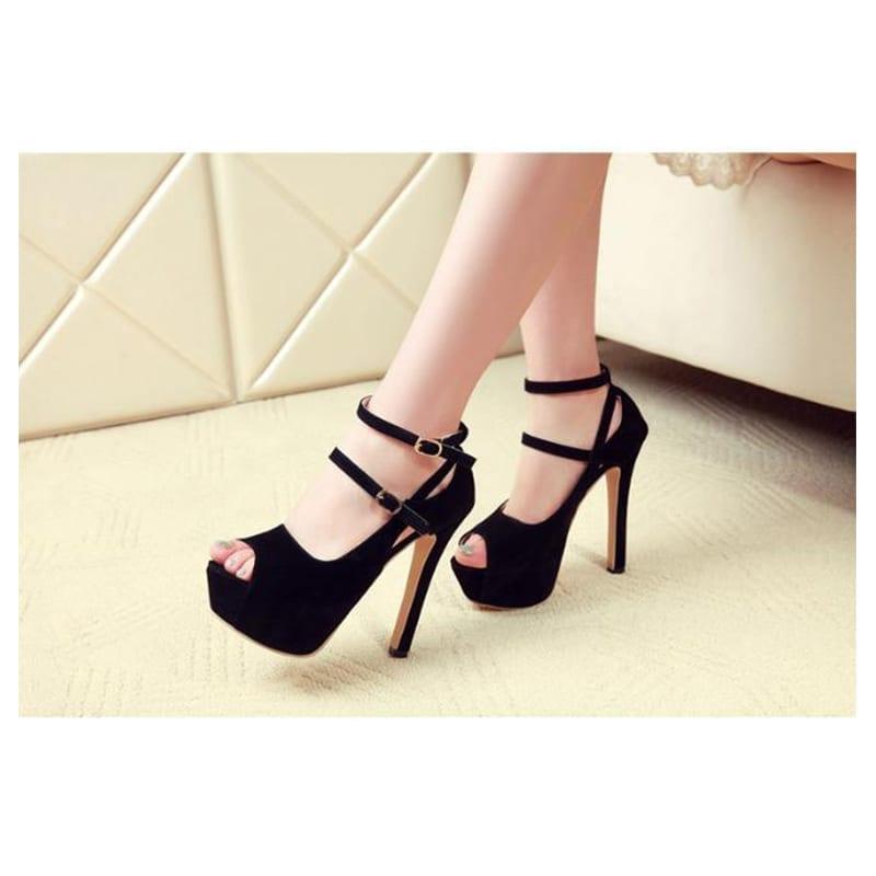 Black Pink Peep Toe Suede Platform Ankle Strap Pumps