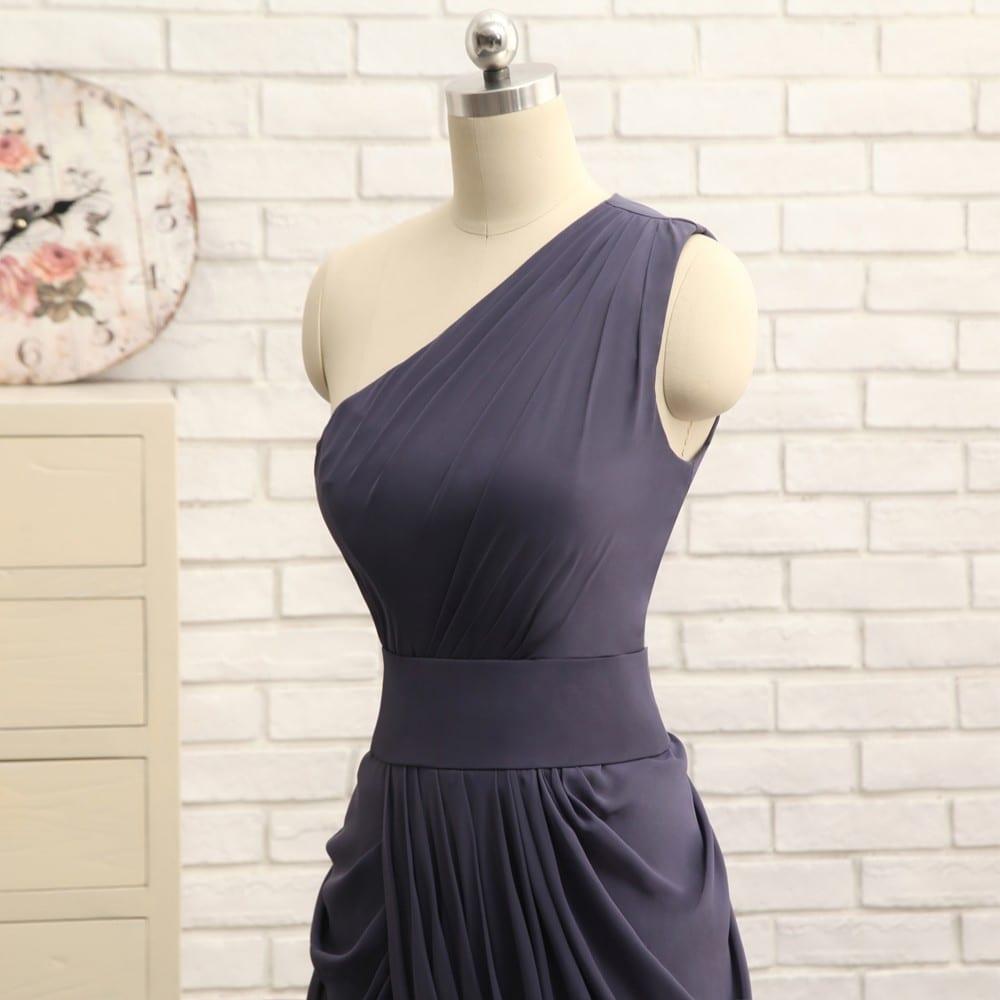 A-line One-shoulder Gray Chiffon Pleated Long Bridesmaid Dress