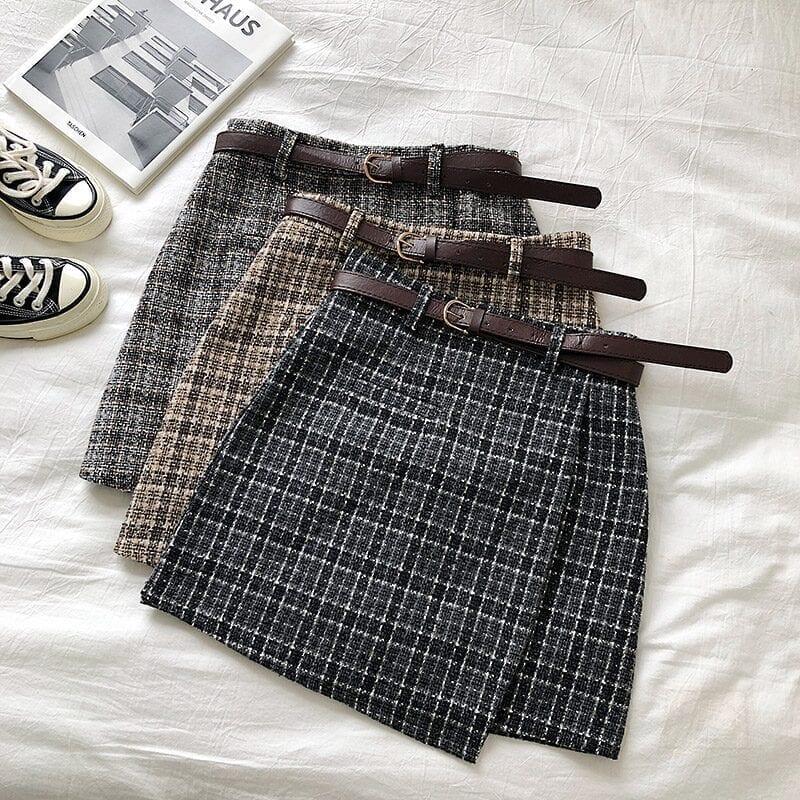 Vintage Women Plaid High Waist Mini Skirt