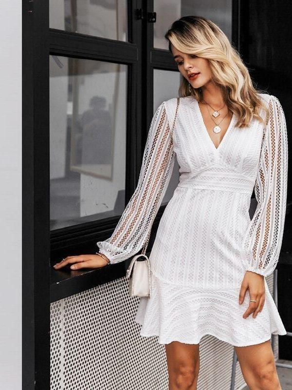 Elegant V-neck Geometric Hollow Out White Dress