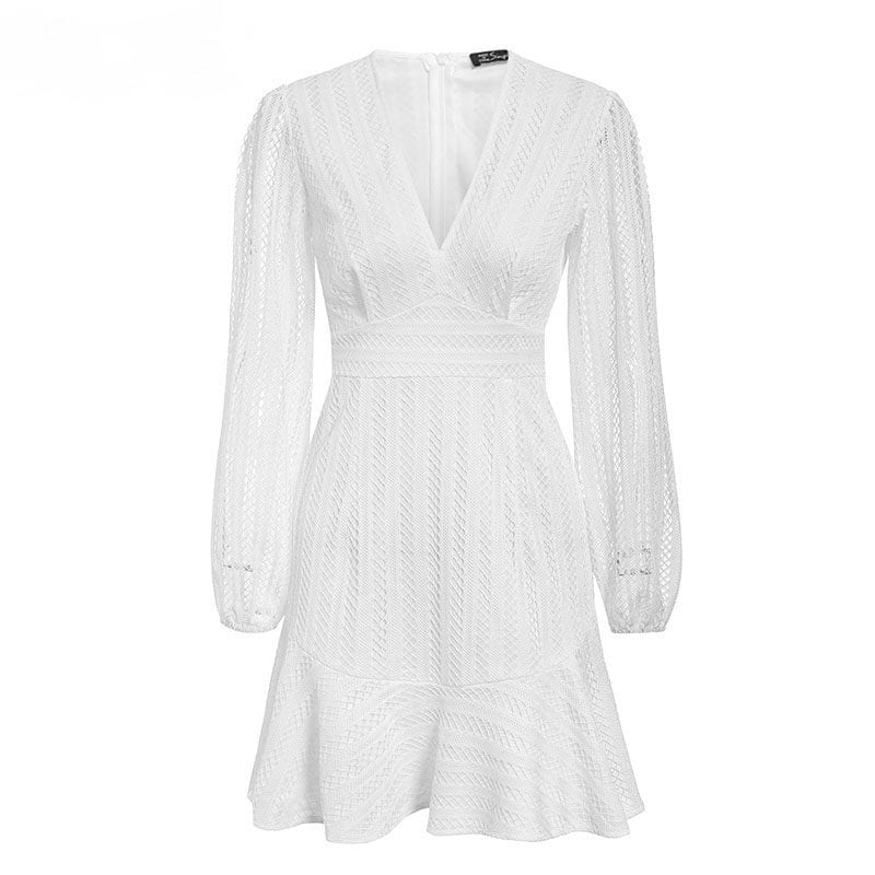 Elegant V-neck Geometric Hollow Out White Dress