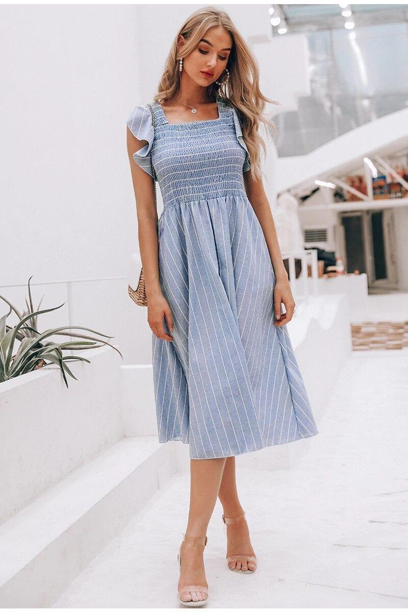Vintage Ruffles Blue Striped Elegant Dress