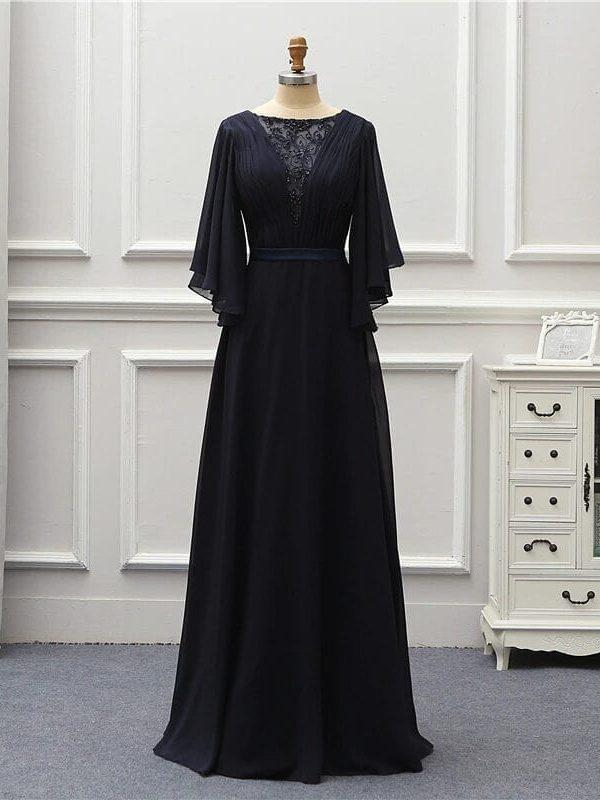 Navy Blue V-neck Half Sleeve Long Evening Special Occasion Dress