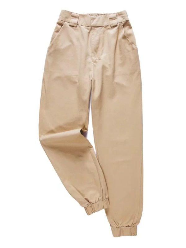 High Waist Green Black Khaki Ankle Length Pants