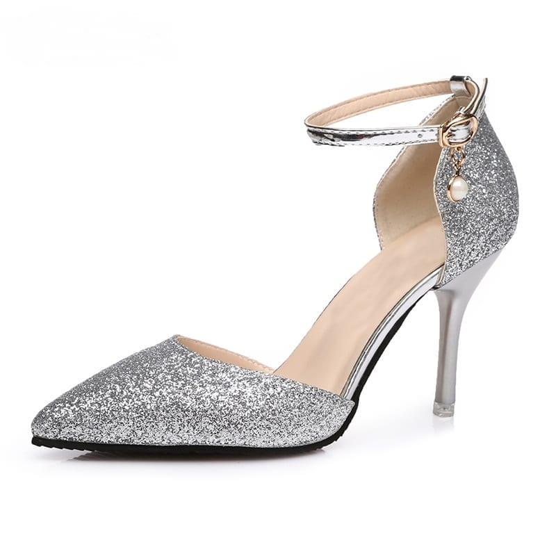 Gold Silver Black Elegant Thin High Heels Point Toe Party Wedding Shoes