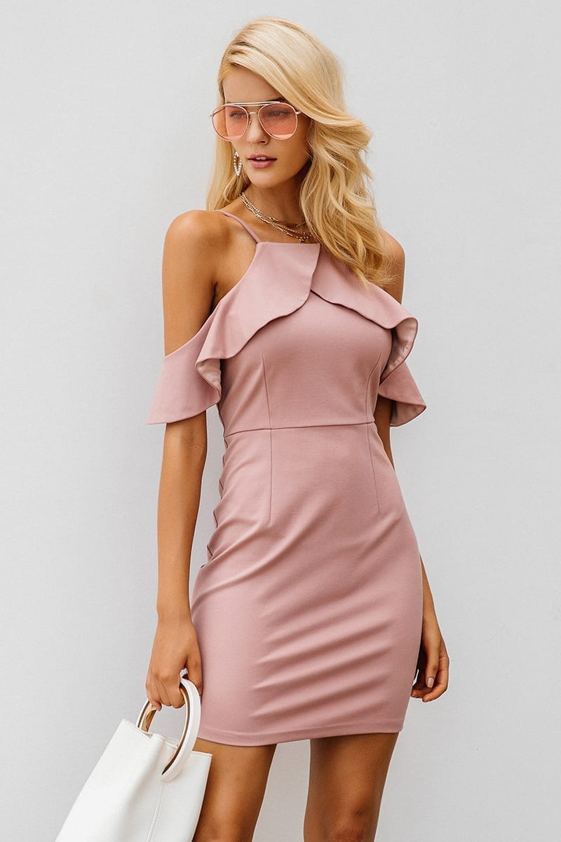 Strap Cold Shoulder Ruffle Backless Split Bodycon Dress