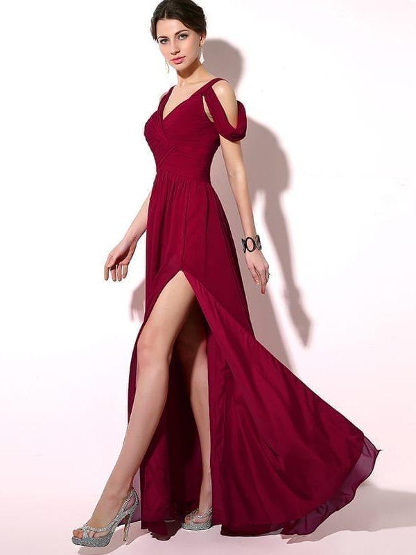 Burgundy Long Chiffon A-line Cap Sleeve Lace Up Back Slit Evening Party Bridesmaid Dress