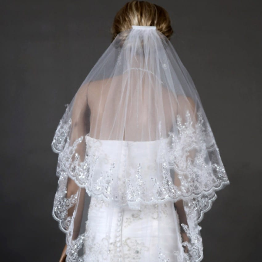 Two Layears White Ivory Wedding Veil