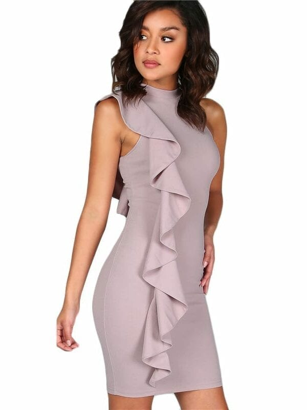 Lavender One Sided Exaggerated Frill High Neck Bodycon Dress
