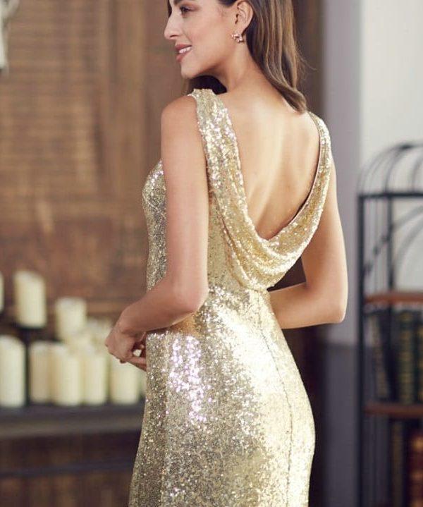 Gold Sequin Sleeveless Long Bridesmaid Dress