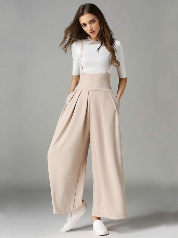 Wide Leg Pleated Cross Back Cropped Trousers Jumpsuit